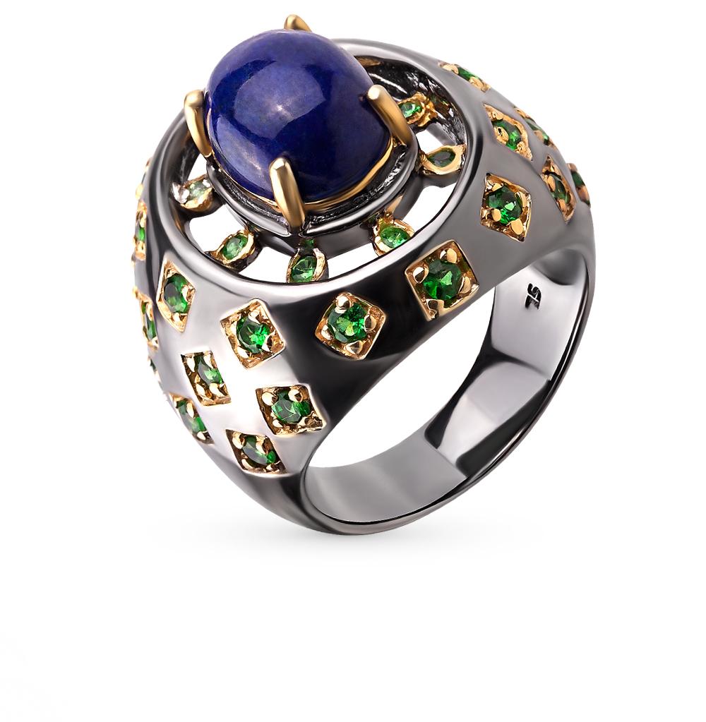 Фото «серебряное кольцо с лазуритами и гранатами»