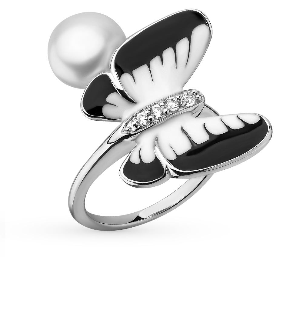 Фото «серебряное кольцо с фианитами, эмалью и жемчугами»