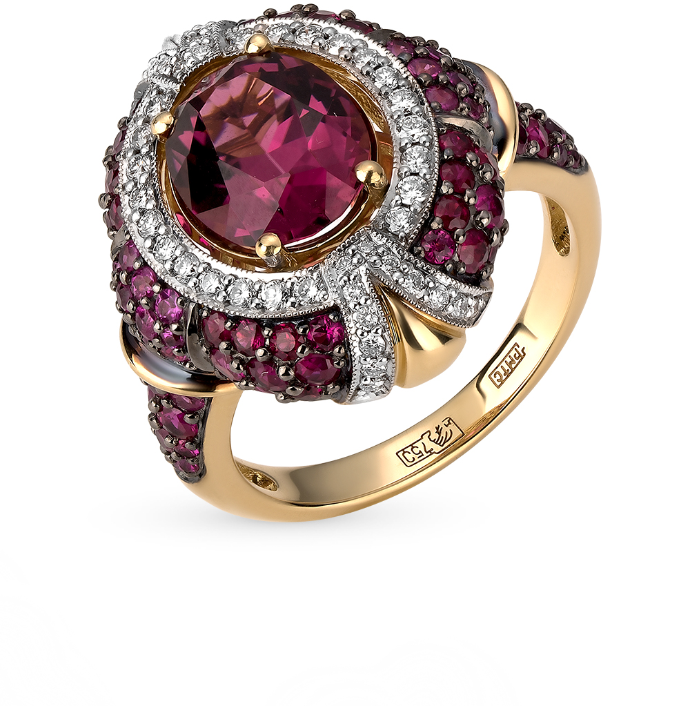 Фото «золотое кольцо с бриллиантами, турмалинами и рубинами»