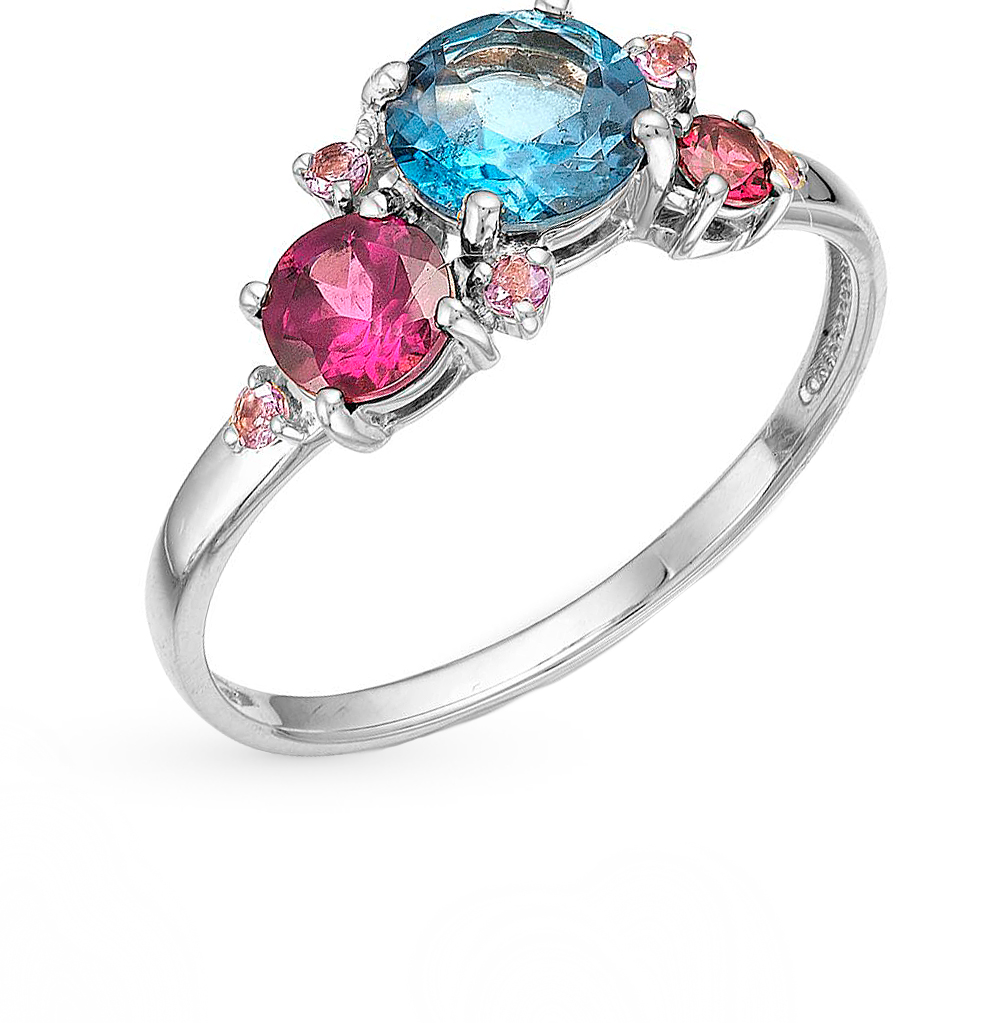 Фото «серебряное кольцо с аметистами, топазами и родолитами»