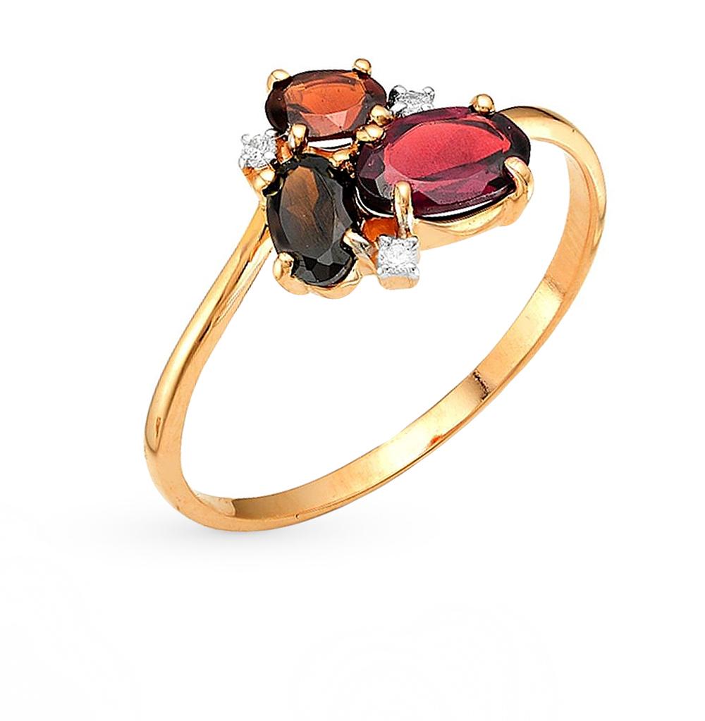Фото «золотое кольцо с гранатами, фианитами, раухтопазами (кварцами дымчатый) и родолитами»