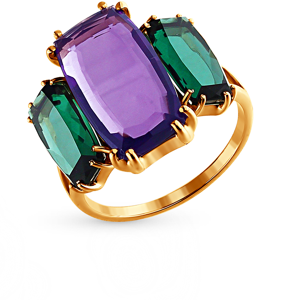 Фото «золотое кольцо с бриллиантами, аметистами, кварцами и сапфирами»