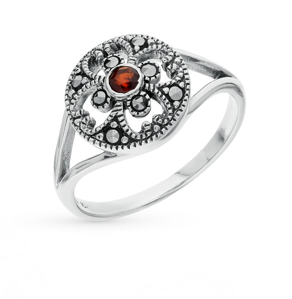 Фото «серебряное кольцо с марказитами и гранатом»