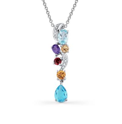 Фото «золотая подвеска с бриллиантами, аметистами, гранатами, топазами и цитринами»