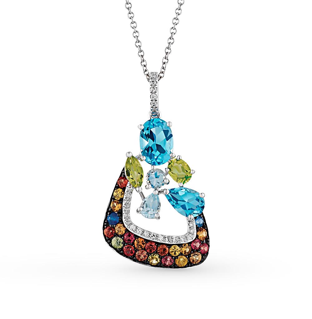 Фото «золотая подвеска с бриллиантами, топазами, сапфирами и хризолитами»