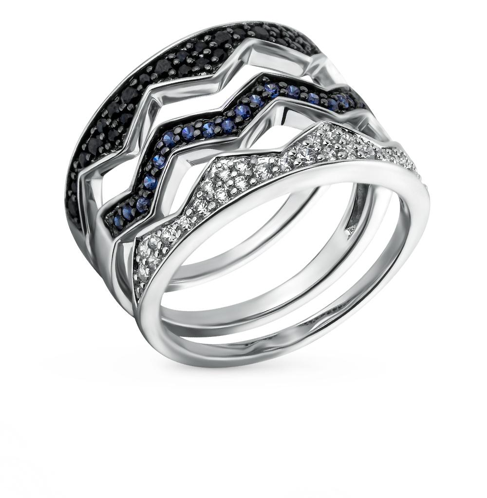 Фото «золотое кольцо с бриллиантами, фианитами и сапфирами»