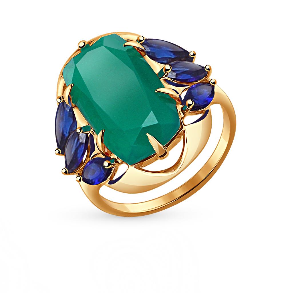Фото «золотое кольцо с корундами синтетическими и агатами»