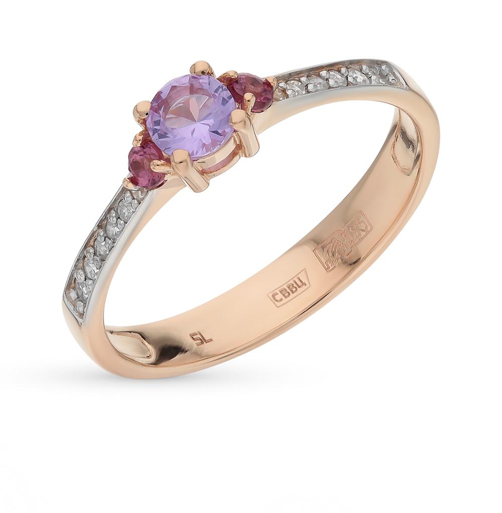 золотое кольцо с султанитами и бриллиантами SUNLIGHT