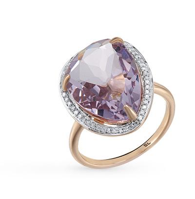 Фото «золотое кольцо с бриллиантами, аметистами, фианитами и ониксом»