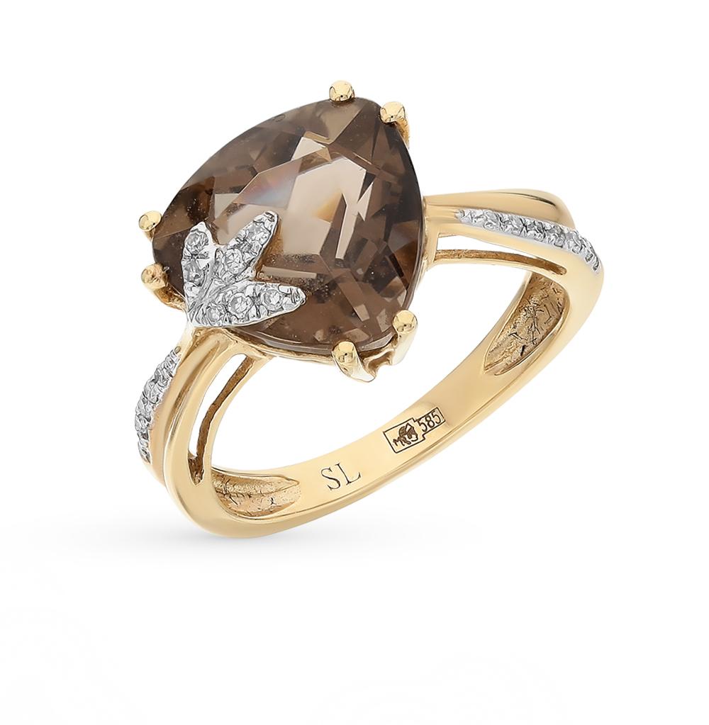 Фото «золотое кольцо с бриллиантами и кварцами дымчатыми»