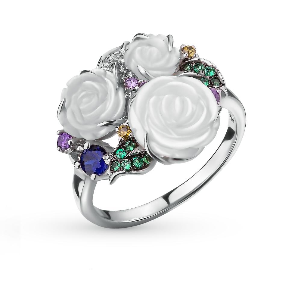 Фото «серебряное кольцо с фианитами, перламутром и сапфирами»