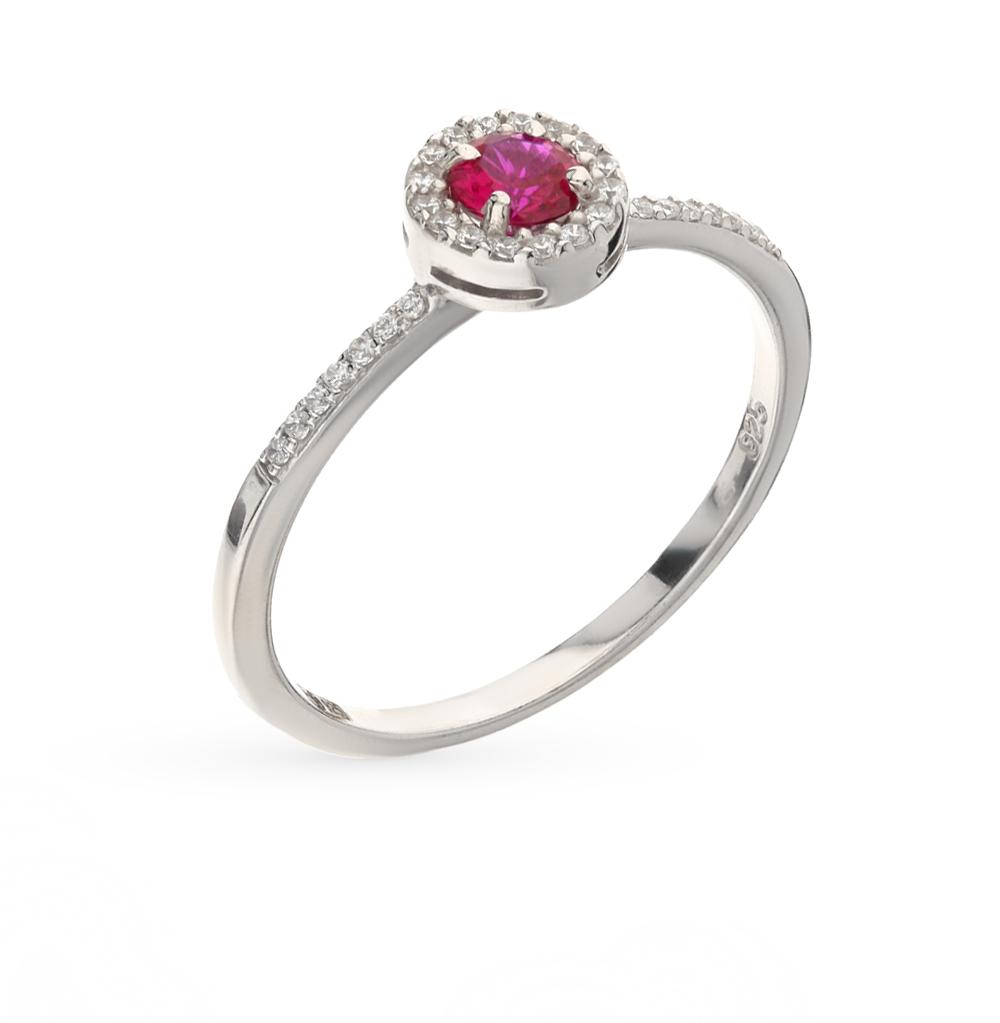 Фото «серебряное кольцо с рубинами синтетическими и фианитами»