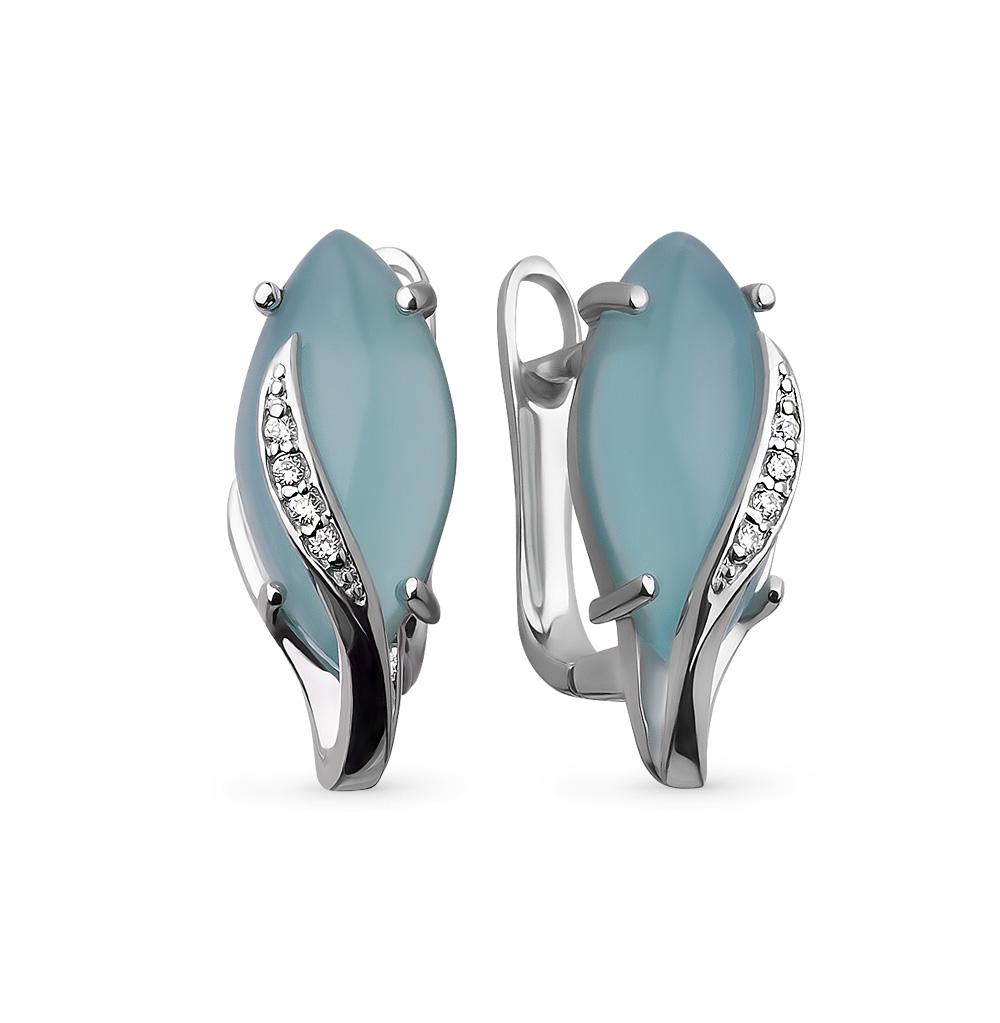 Фото «серебряные серьги с кошачьими глазами и фианитами»