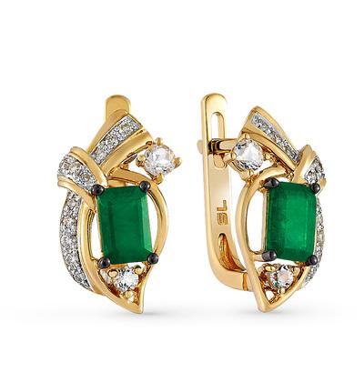 Фото «золотые серьги с бриллиантами, топазами и изумрудами»