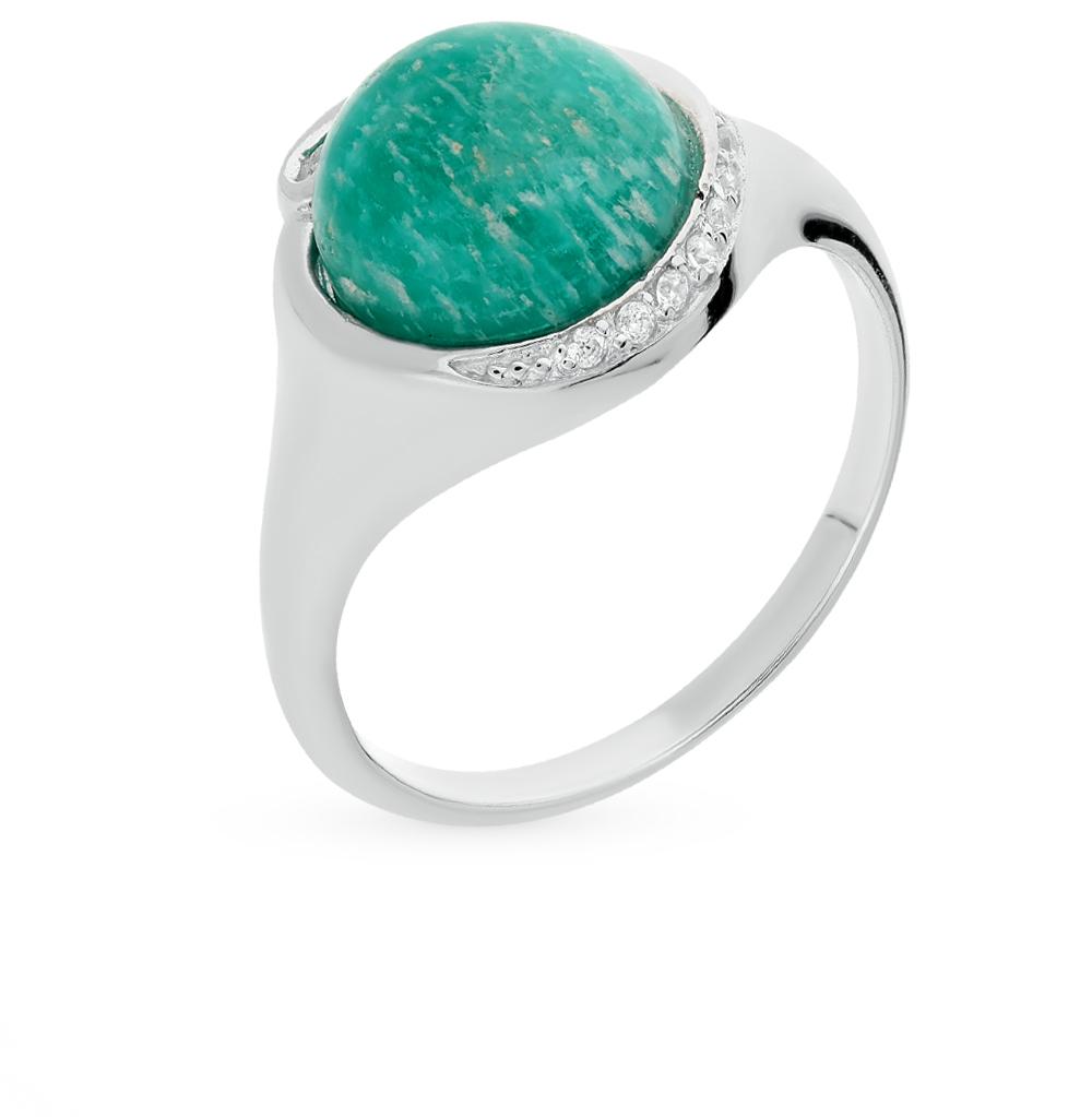 Фото «кольцо с амазонитами и фианитами»