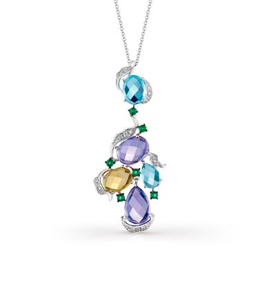 Фото «золотая подвеска с бриллиантами, аметистами, цитринами, топазами и изумрудами»