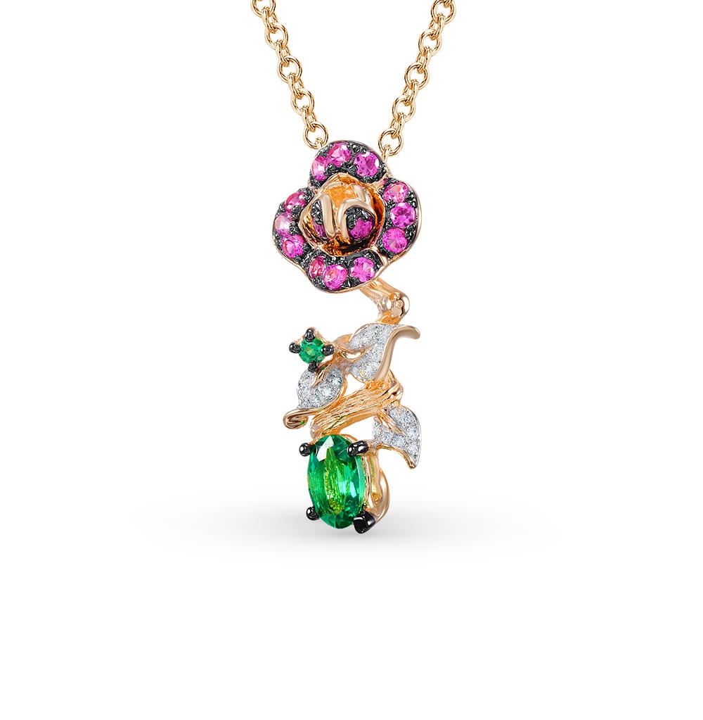 Фото «золотая подвеска с бриллиантами, изумрудами, рубинами и сапфирами»