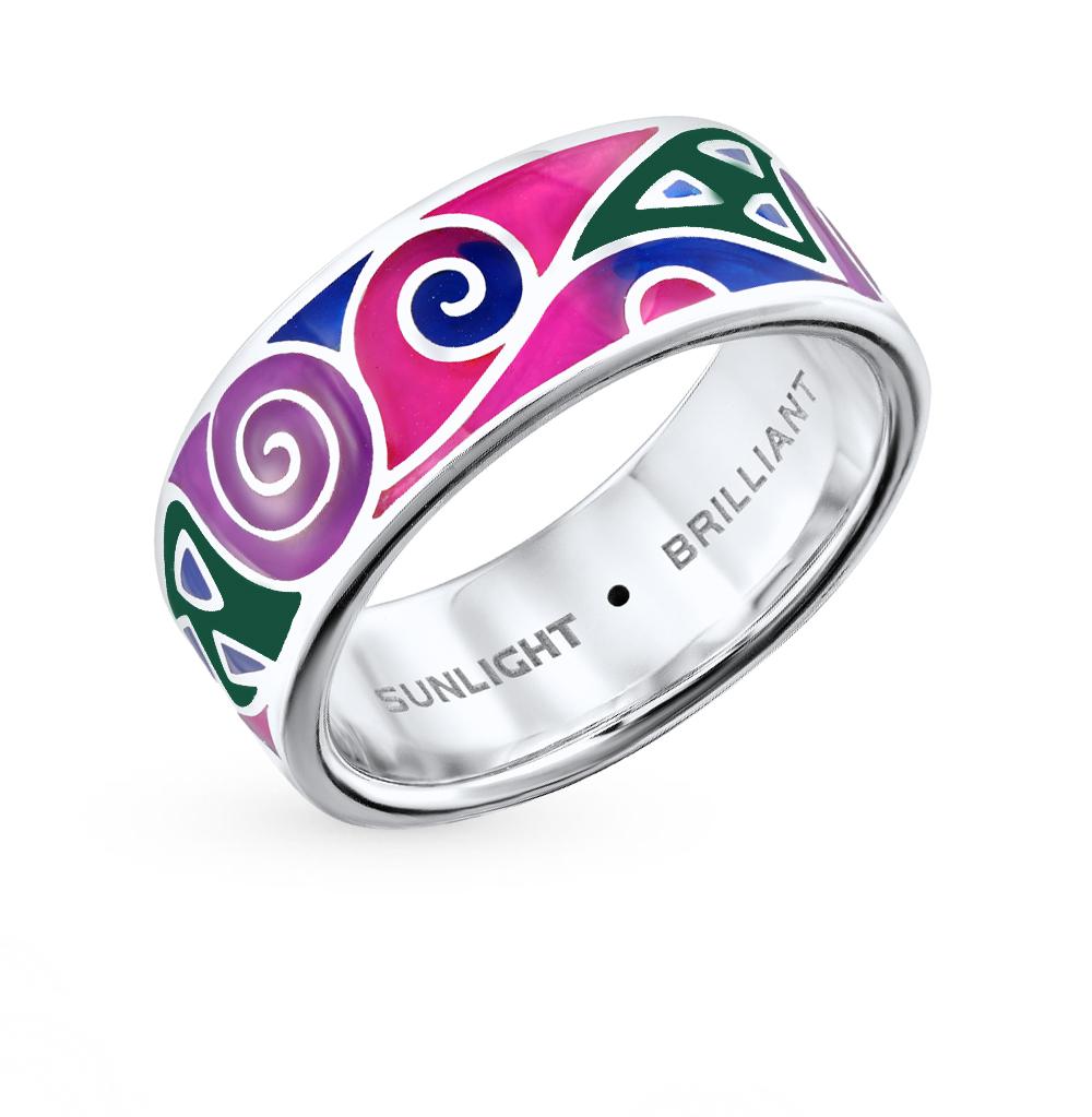 Фото «серебряное кольцо с бриллиантами и витражными эмалями»