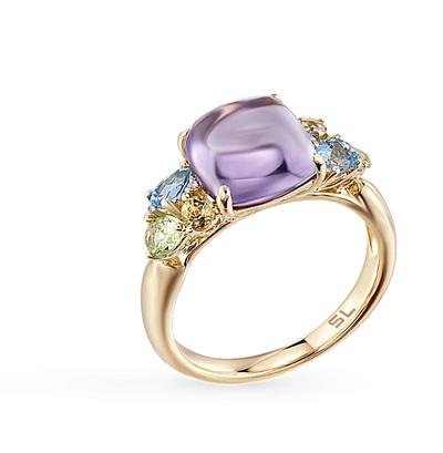 Фото «кольцо с аметистом, цитринами, топазами и хризолитом»