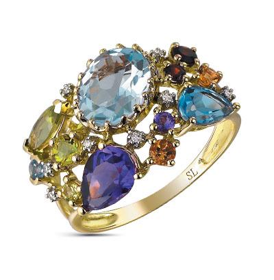 Фото «кольцо с аметистами, гранатами и топазами»