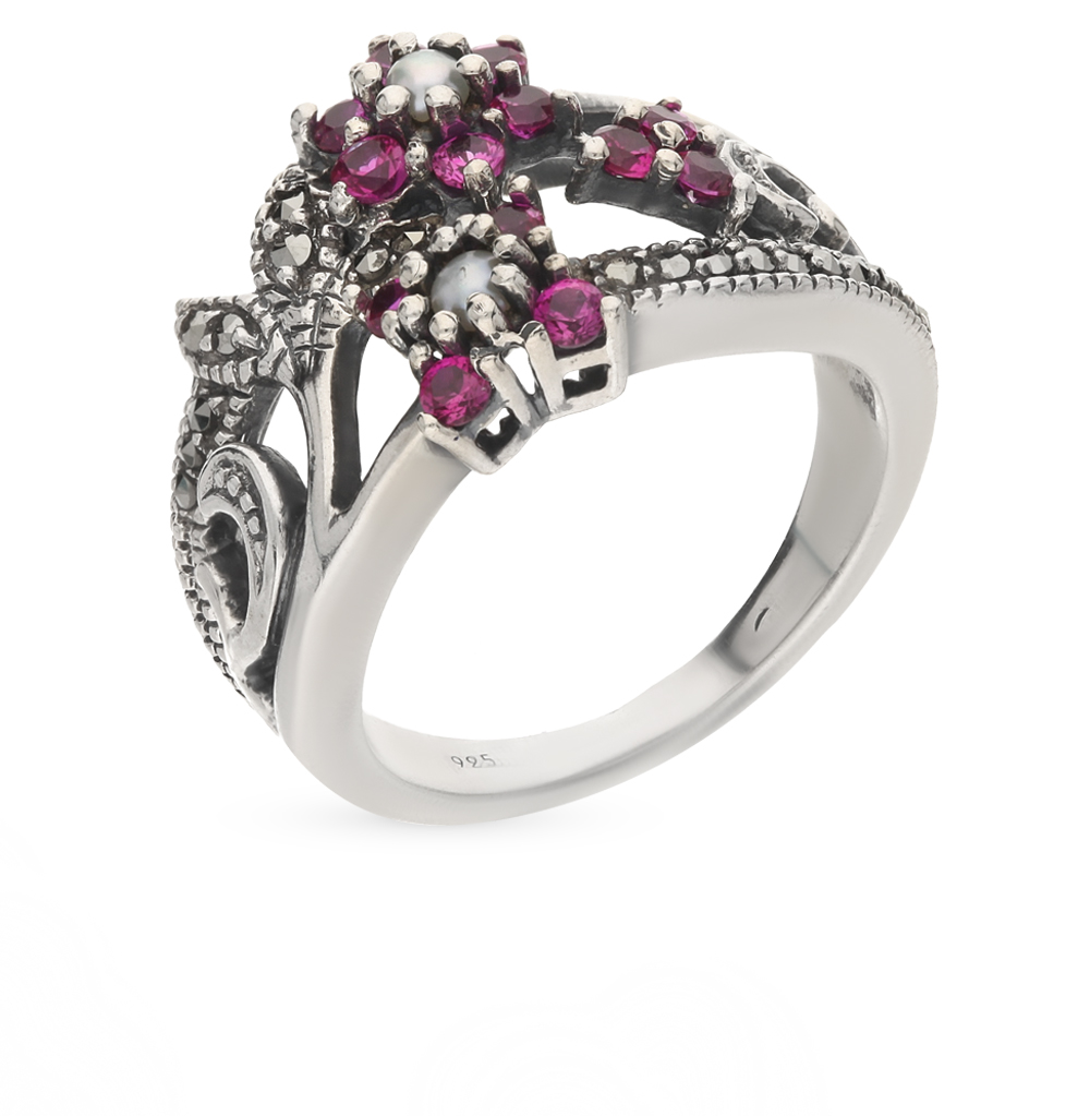 Фото «серебряное кольцо с марказитами, сапфирами синтетическими и жемчугом»