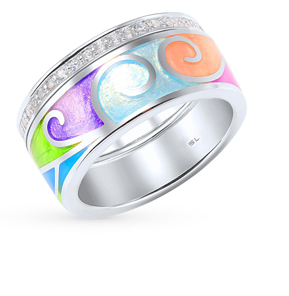 Фото «серебряное кольцо с витражными эмалью и фианитами»