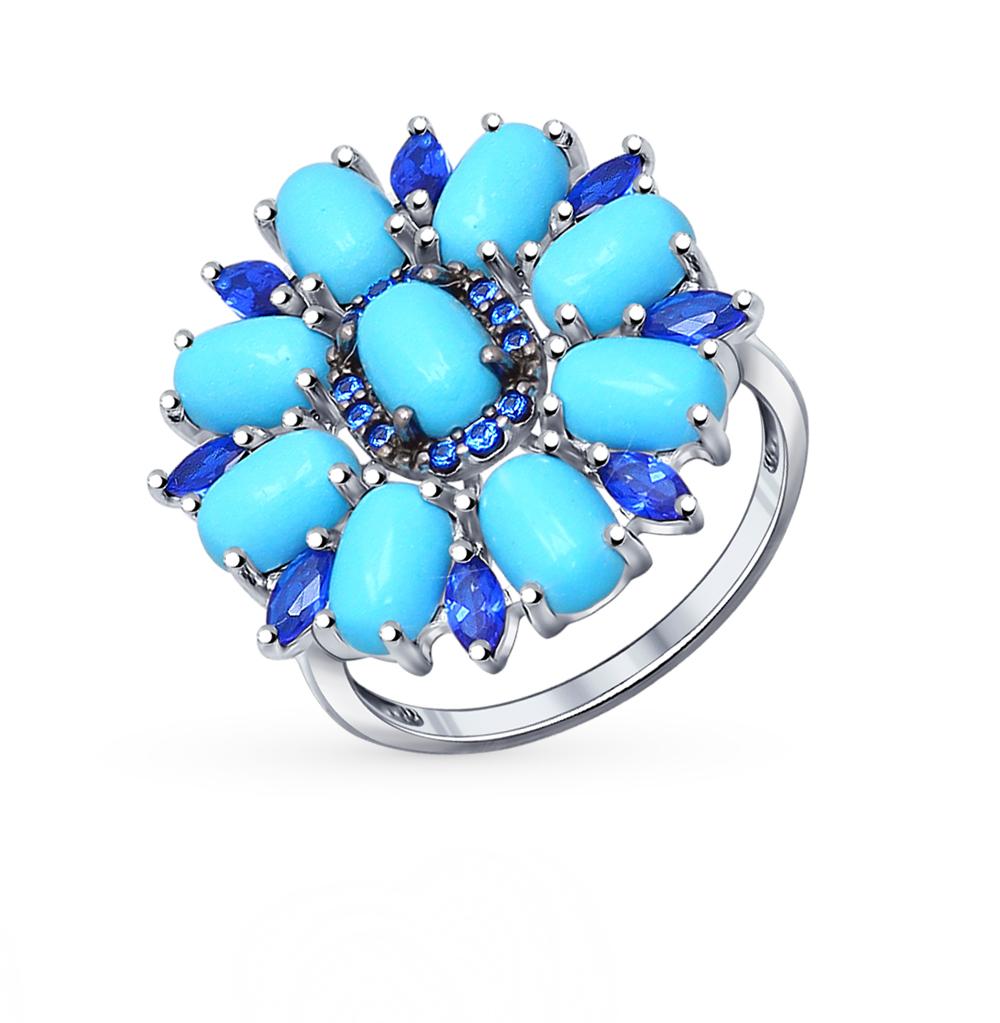 Фото «серебряное кольцо с бирюза имитациями, топазами и фианитами»