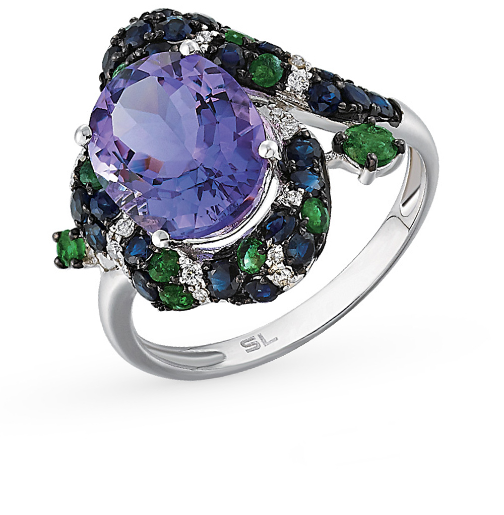 Фото «золотое кольцо с бриллиантами, аметистами, изумрудами и сапфирами»