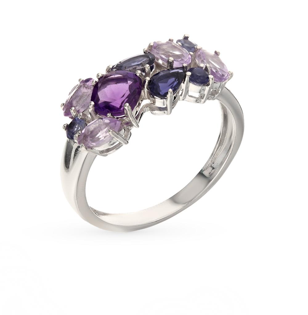 Фото «серебряное кольцо с иолитами и аметистами»