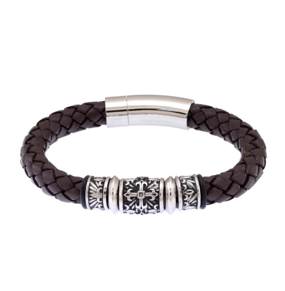 Фото «кожаный браслет с сталями и каучуками»