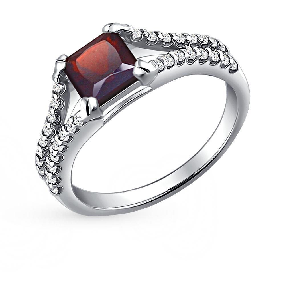 Фото «серебряное кольцо с гранатами и фианитами»
