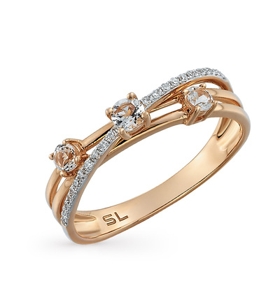 Фото «золотое кольцо с бриллиантами, кораллами синтетическими, аметистами и топазами»