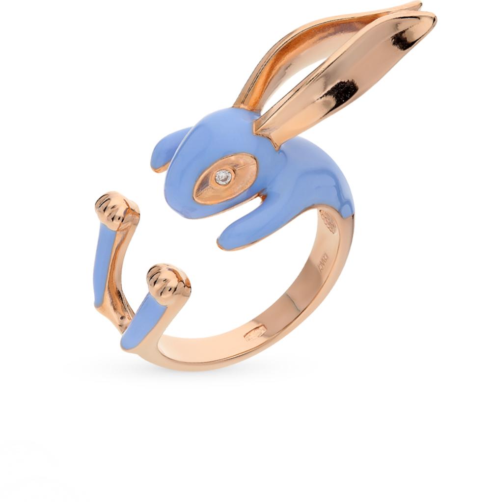 Фото «золотое кольцо с александритами синтетическими, фианитами и эмалью»