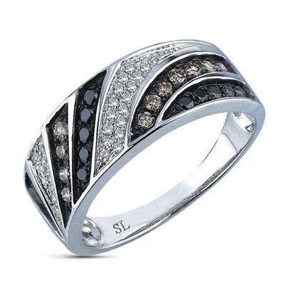 Фото «кольцо с чёрными и белыми бриллиантами»
