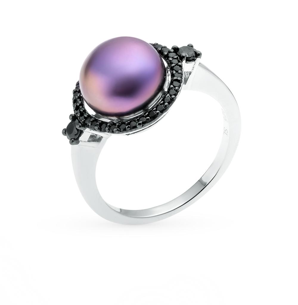 Фото «серебряное кольцо с фианитами и жемчугами»