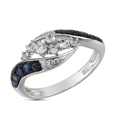 Фото «золотое кольцо с топазами и сапфирами»