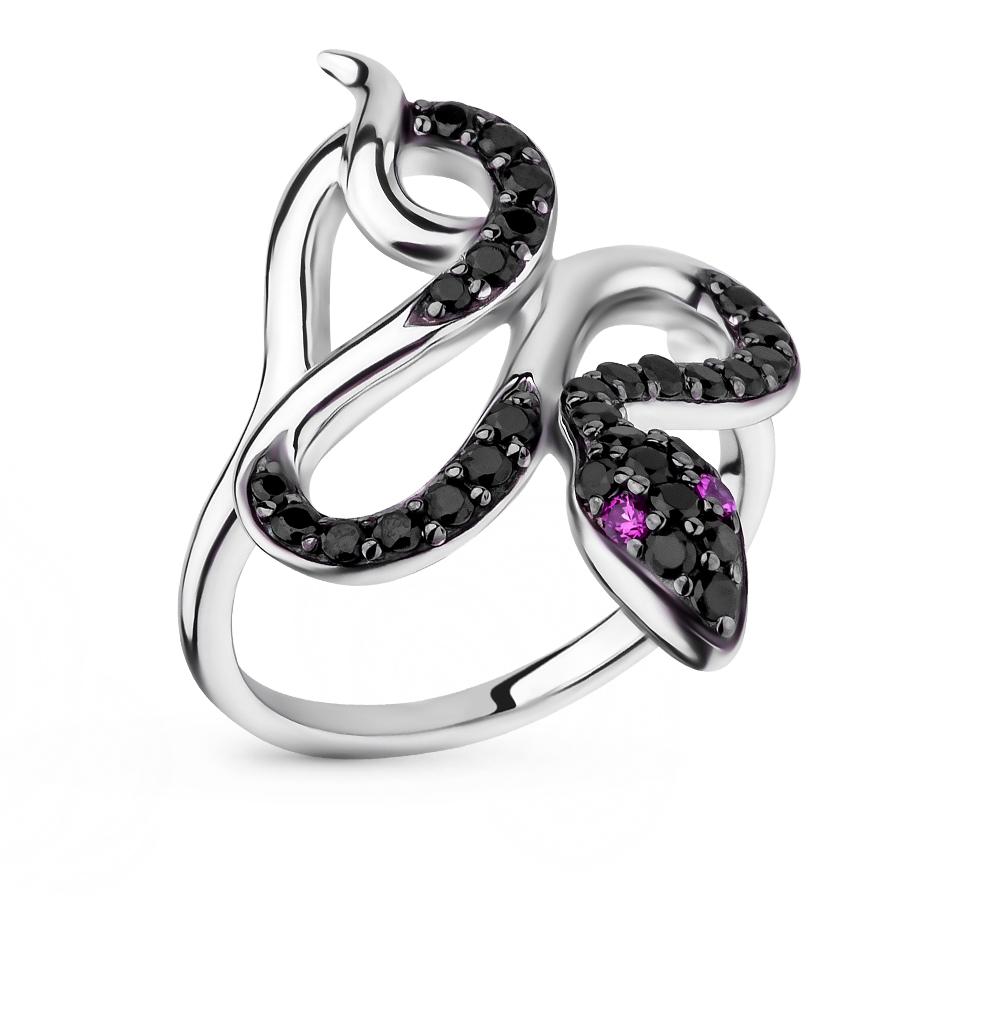 Фото «серебряное кольцо с рубинами синтетическими и шпинелями»