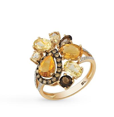Фото «золотое кольцо с бриллиантами, цитринами и кварцами»