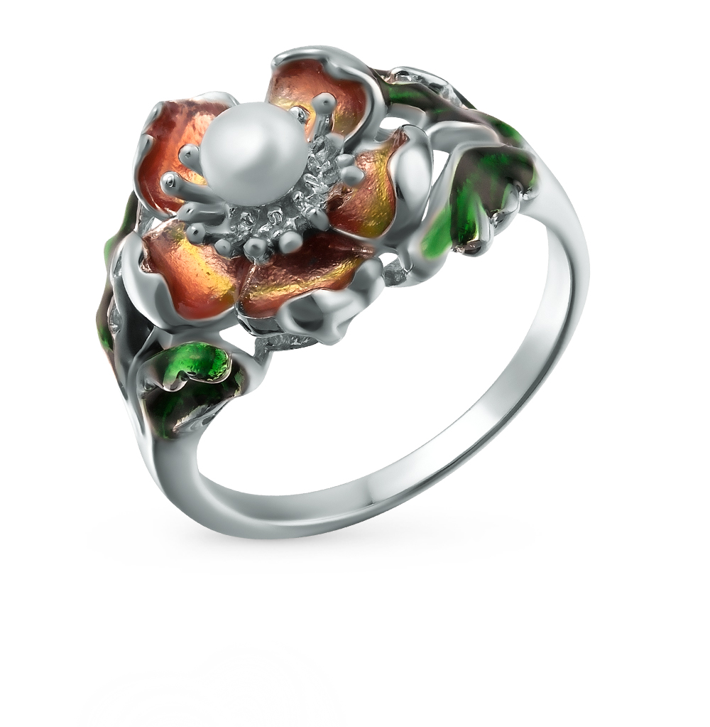 Фото «серебряное кольцо с эмалью и жемчугом»