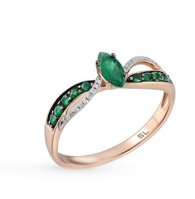 Фото «золотое кольцо с бриллиантами, кварцами и изумрудами»