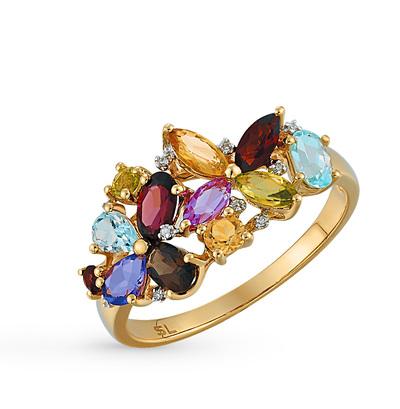 Фото «золотое кольцо с бриллиантами, аметистами, гранатами, кварцами дымчатыми, топазами, цитринами, хризолитами и сапфирами синтетическими»