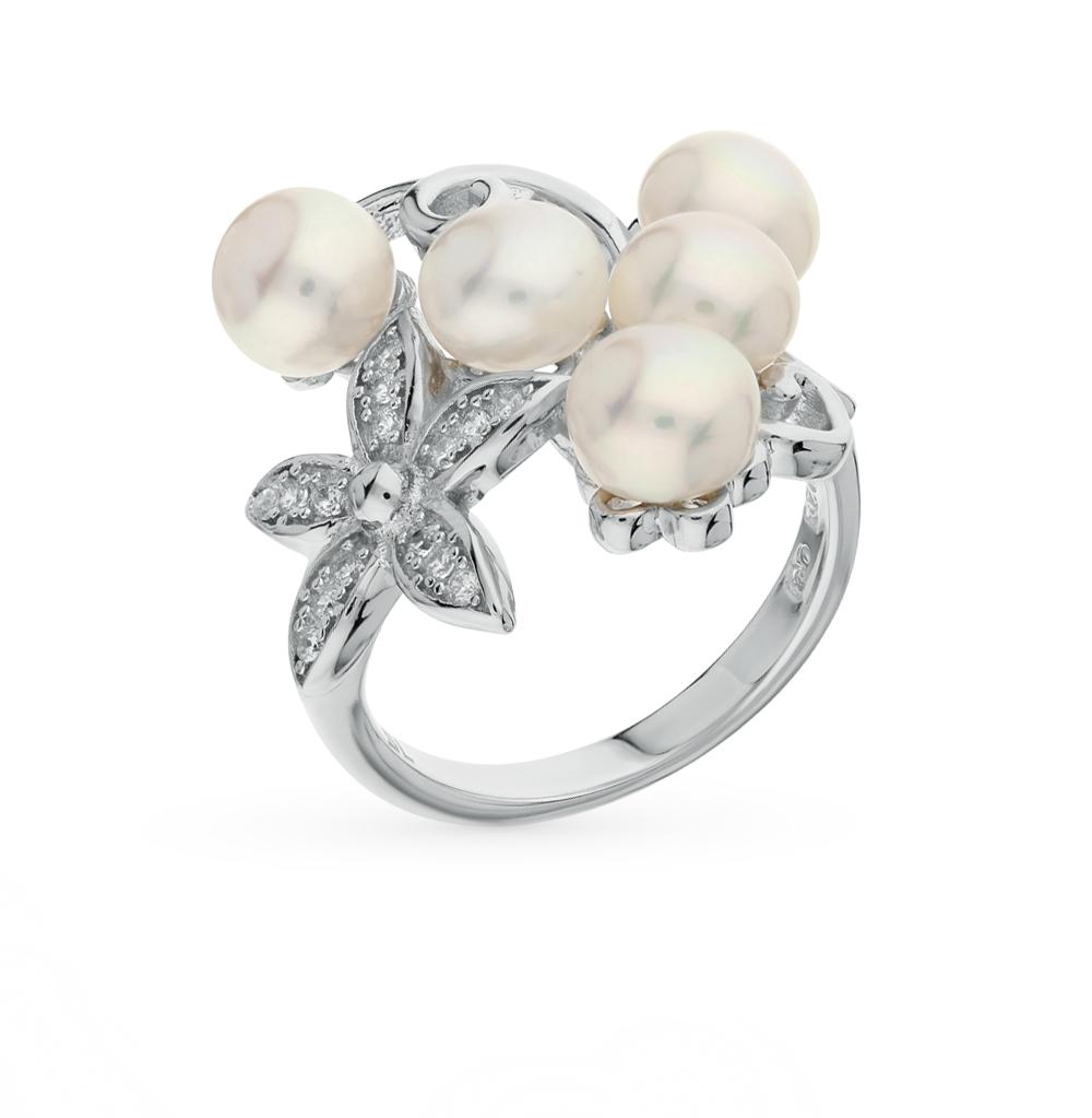 Фото «серебряное кольцо с жемчугами культивированными и фианитами»