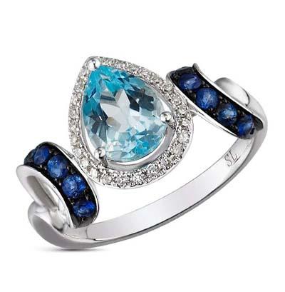 Фото «кольцо с бриллиантами, топазами и сапфирами»