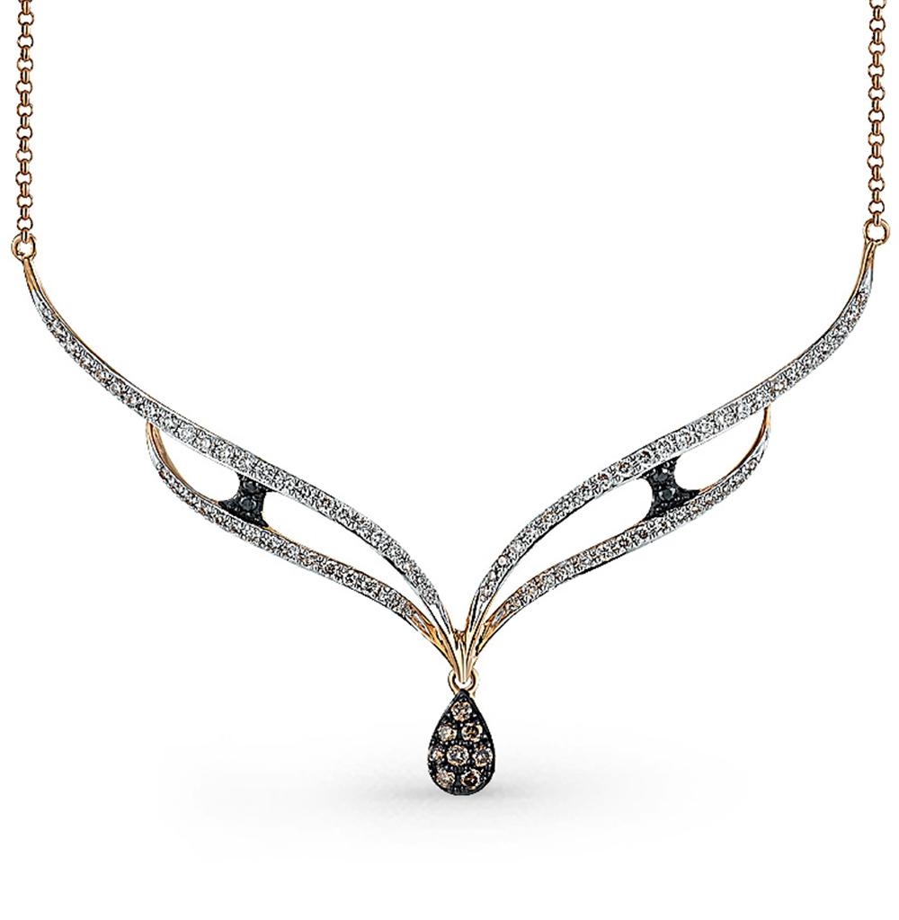 золотое шейное украшение с чёрными и белыми бриллиантами SUNLIGHT