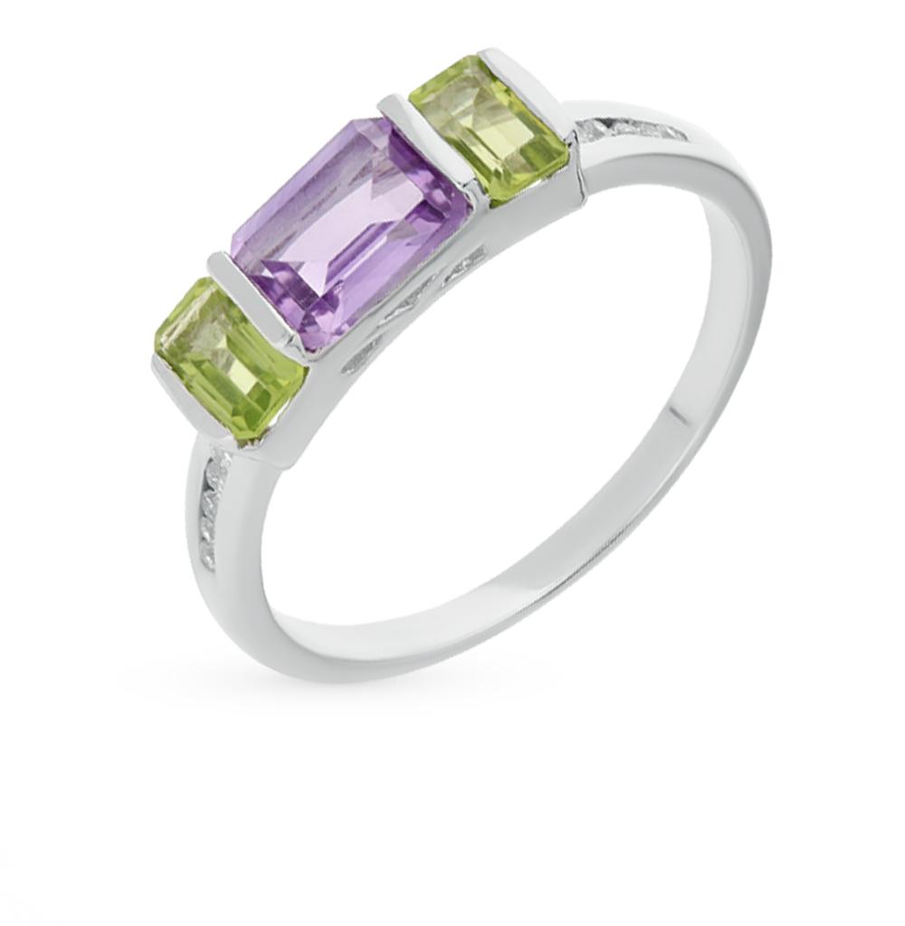 Фото «серебряное кольцо с аметистами и хризолитами»