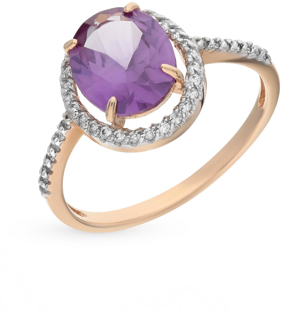 Фото «золотое кольцо с александритами и фианитами»