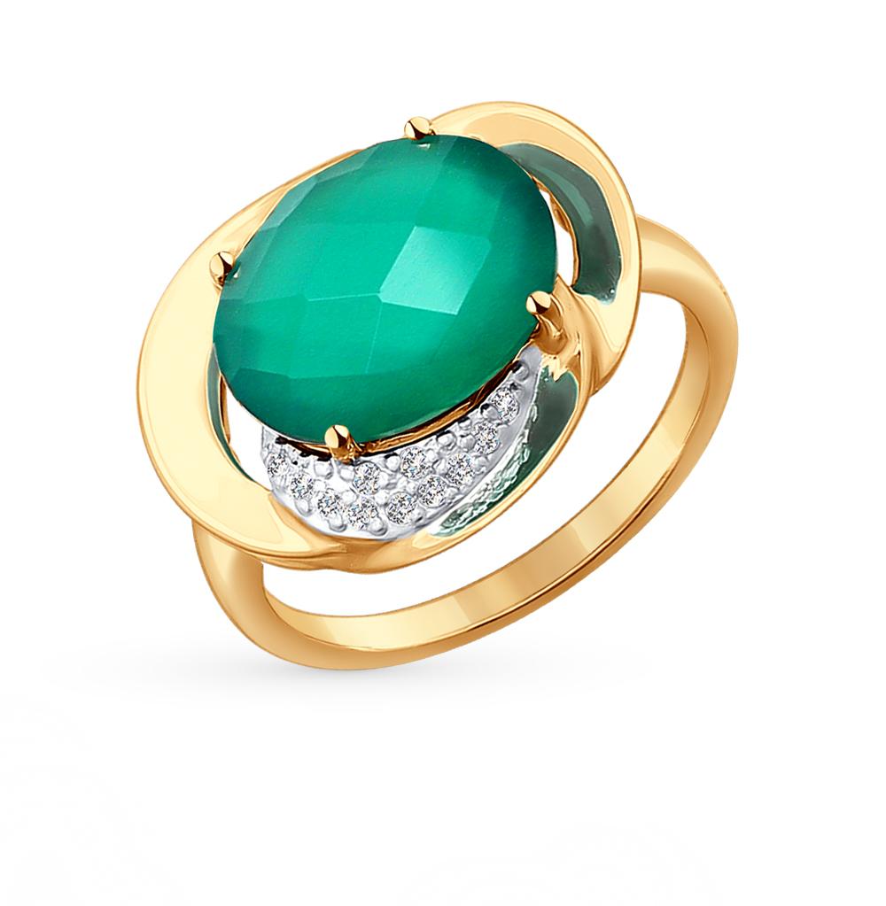 Фото «золотое кольцо с фианитами и агатами»