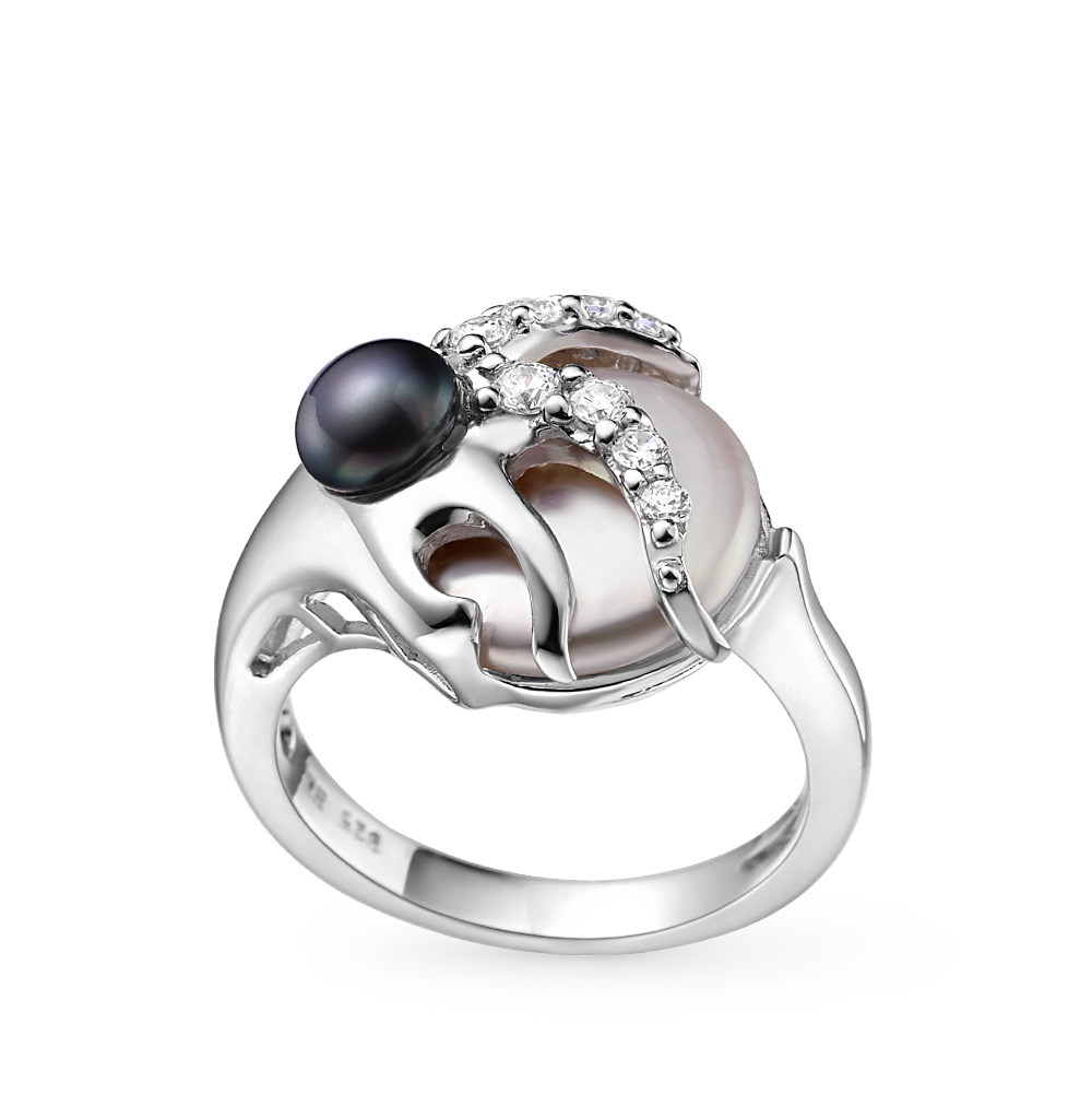 Фото «серебряное кольцо с фианитами и культивированными жемчугом»