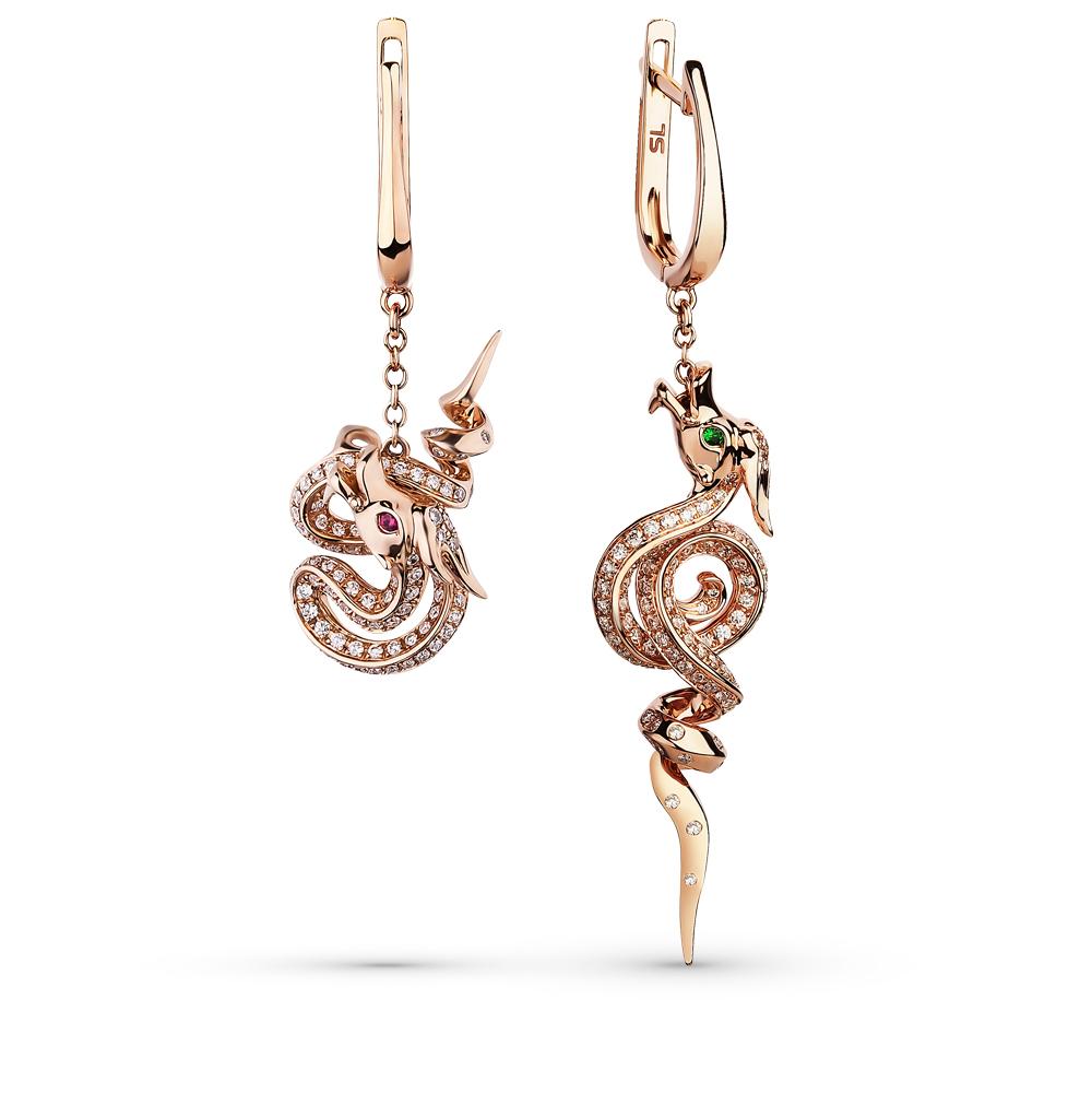 Фото «золотые серьги с бриллиантами, цаворитами и рубинами»