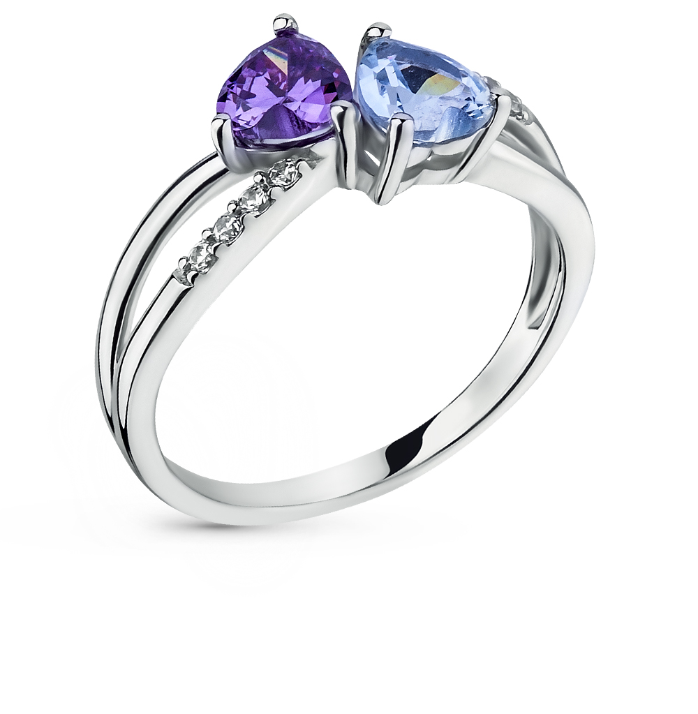 Фото «серебряное кольцо с шпинелями и фианитами»